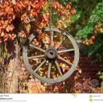 Autumn Decor With Wooden Wheel Stock Image Image Of Ancient Autumn 102352575