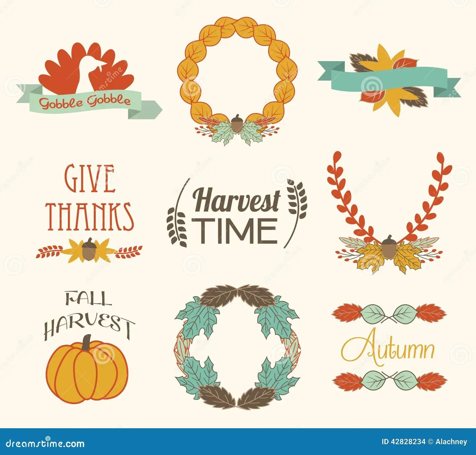 Autumn Fall Harvest Elements Stock Vector