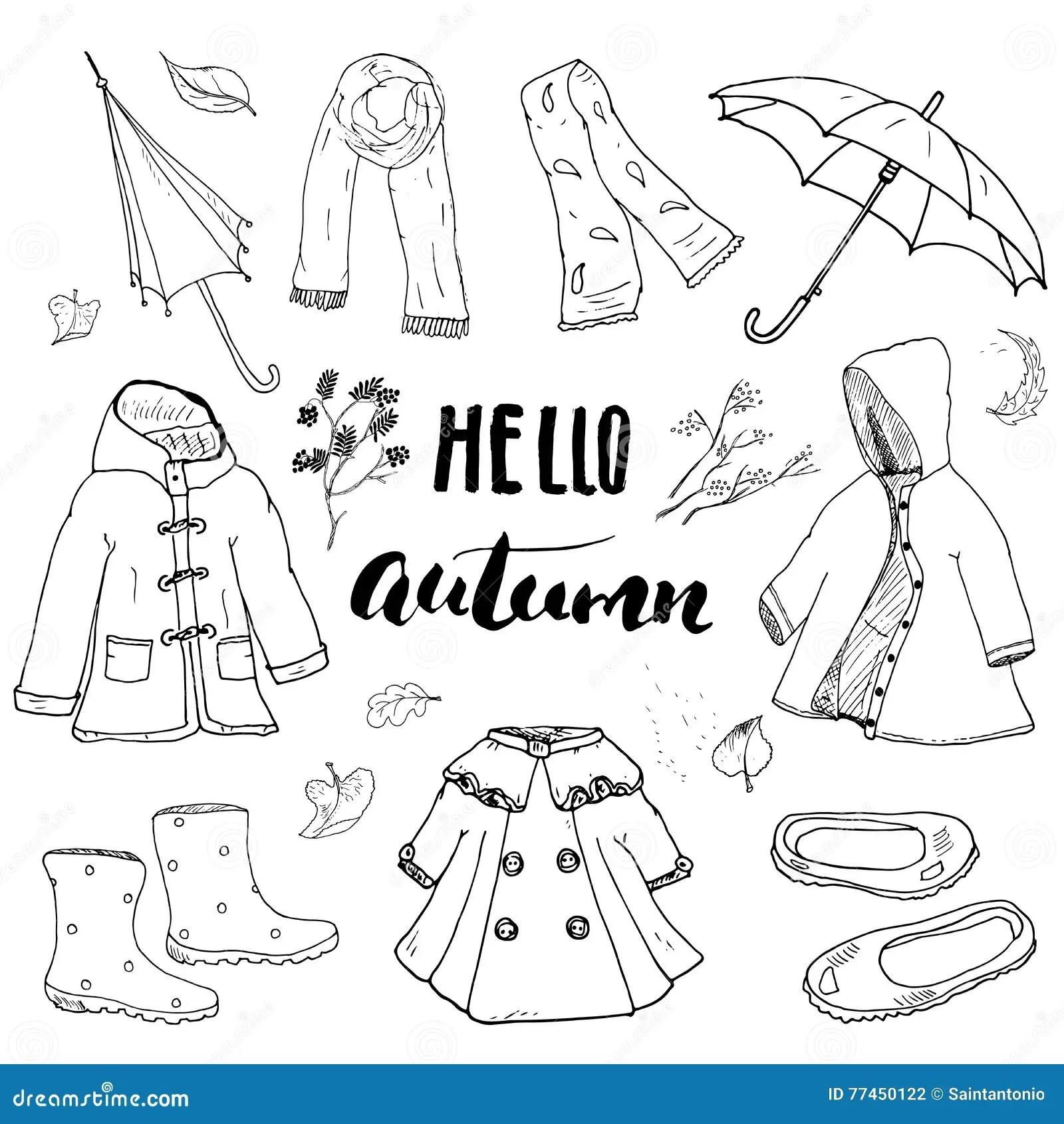 Autumn Season Clothes Set Hand Drawn Doodles And