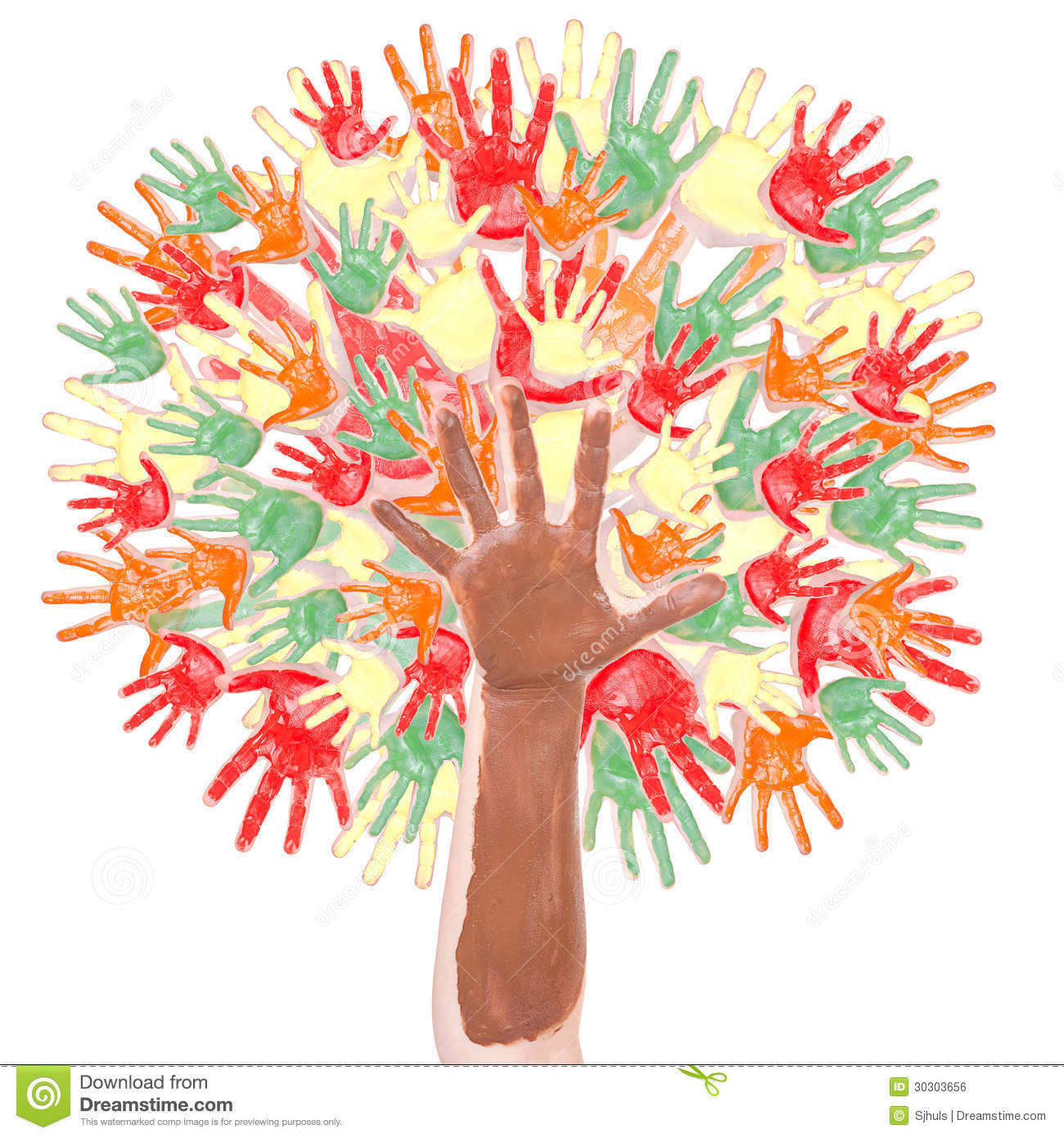 Autumn Tree Made Of Hands Stock Photo Image Of Group