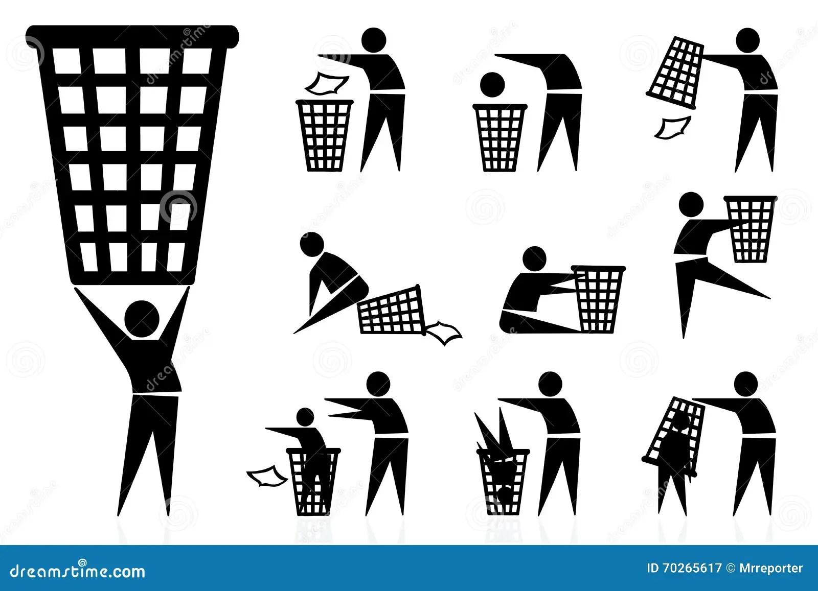 Avfall Fack Symboler Vektor Illustrationer Illustration Av Illustration