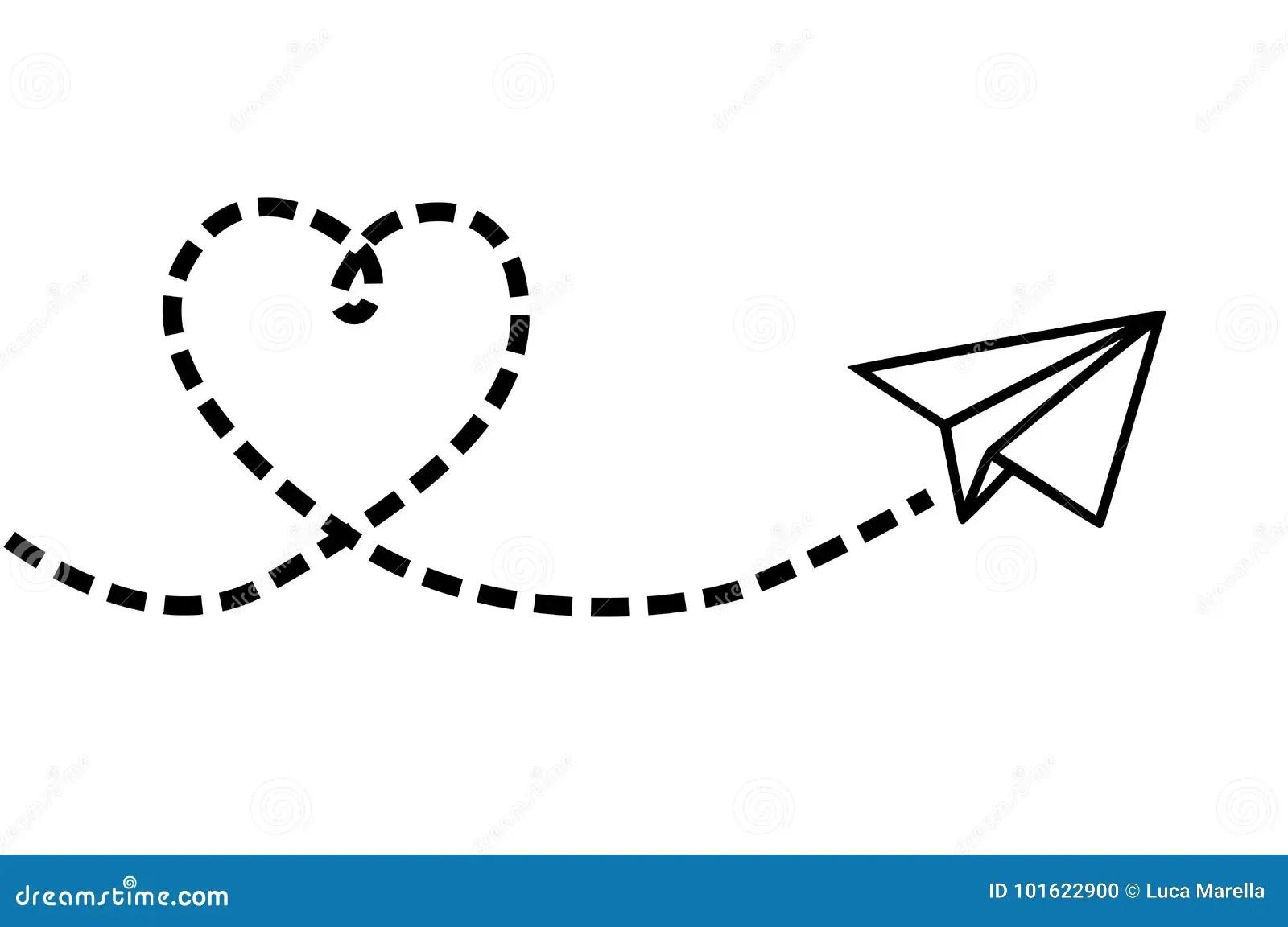 Avion De Vol Faisant Un Coeur Illustration De Vecteur