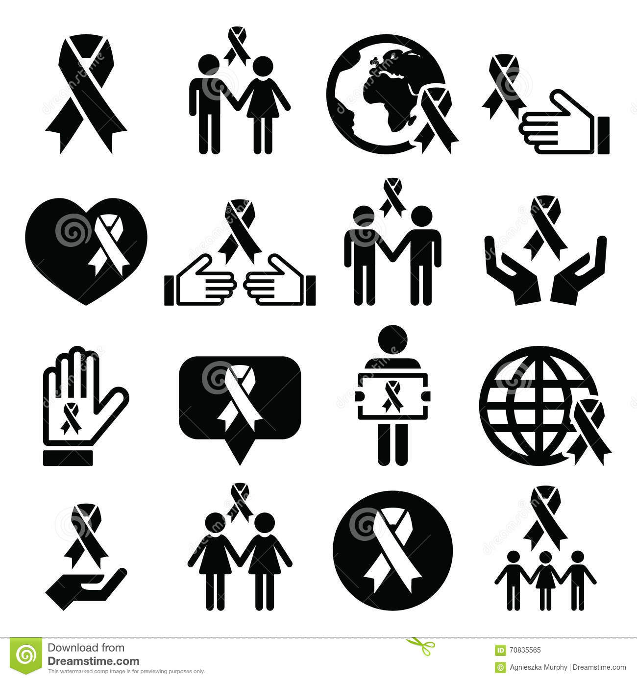 Charity Black White Icons Set Vector Illustration