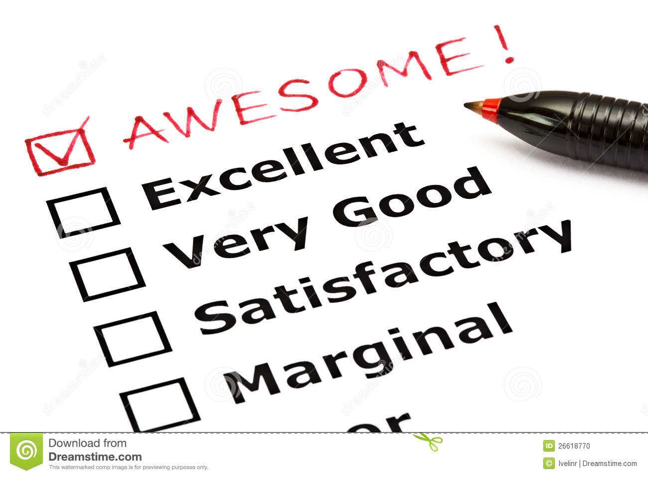 Awesome Evaluation Form Stock Photo