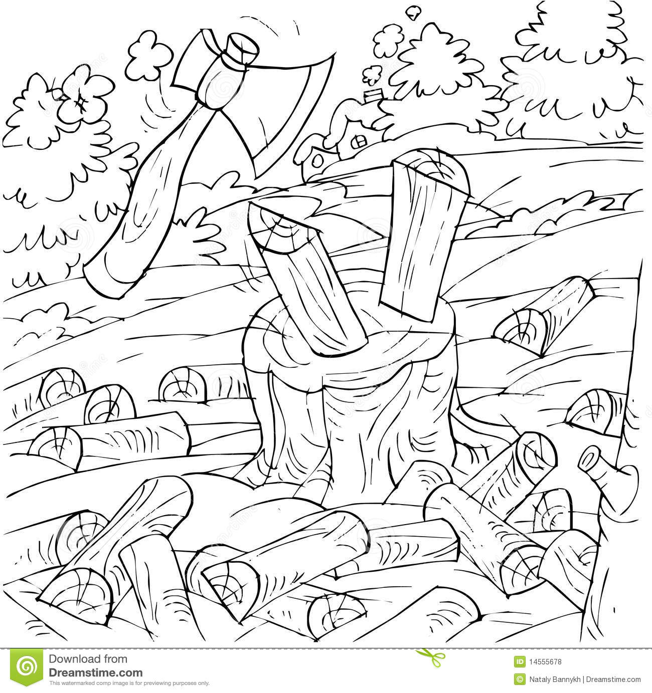 Chopping Wood Coloring Page Coloring Coloring Pages