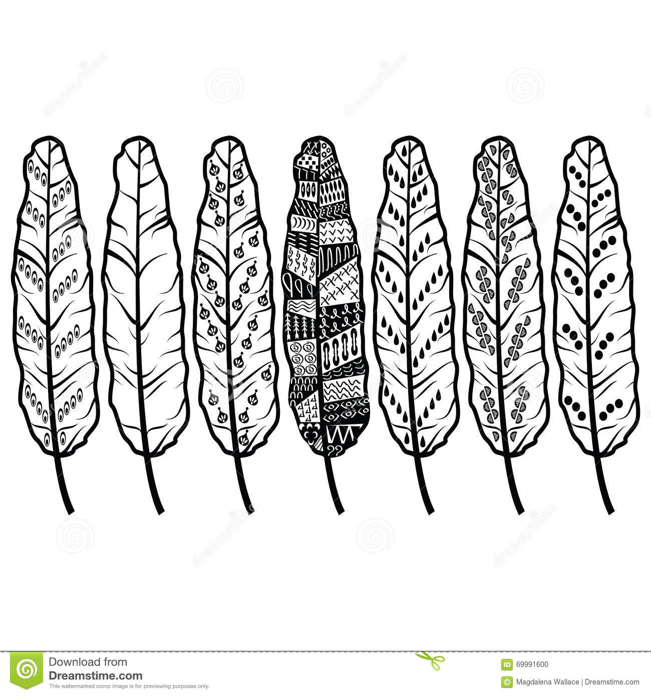 Hand Drawn Abstract Feather With Ethnic Ornaments Doodle