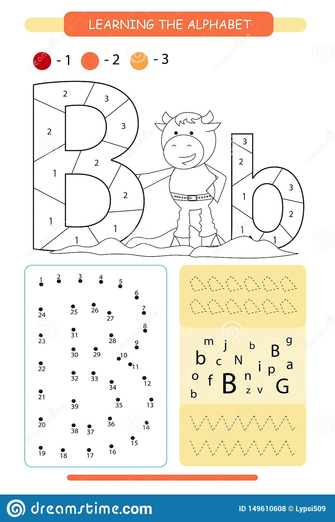 Letter B And Funny Cartoon Bull Animals Alphabet A Z