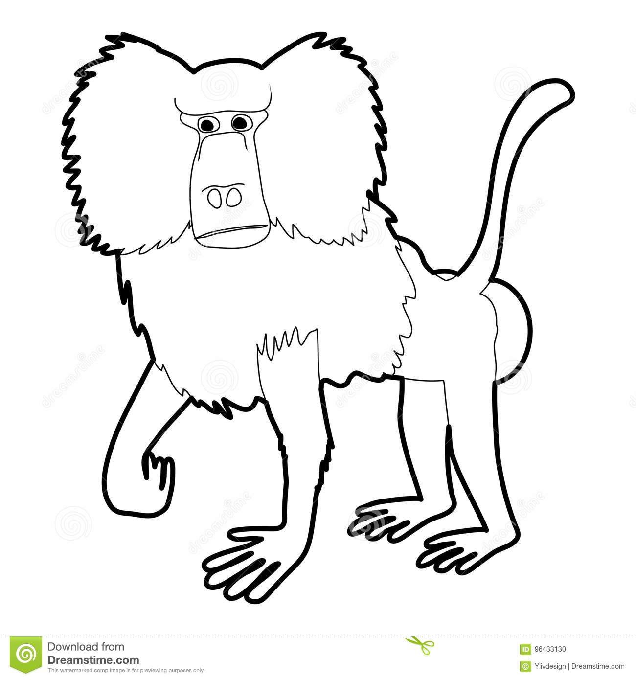 Baboon Icon Outline Stock Vector Illustration Of Creature