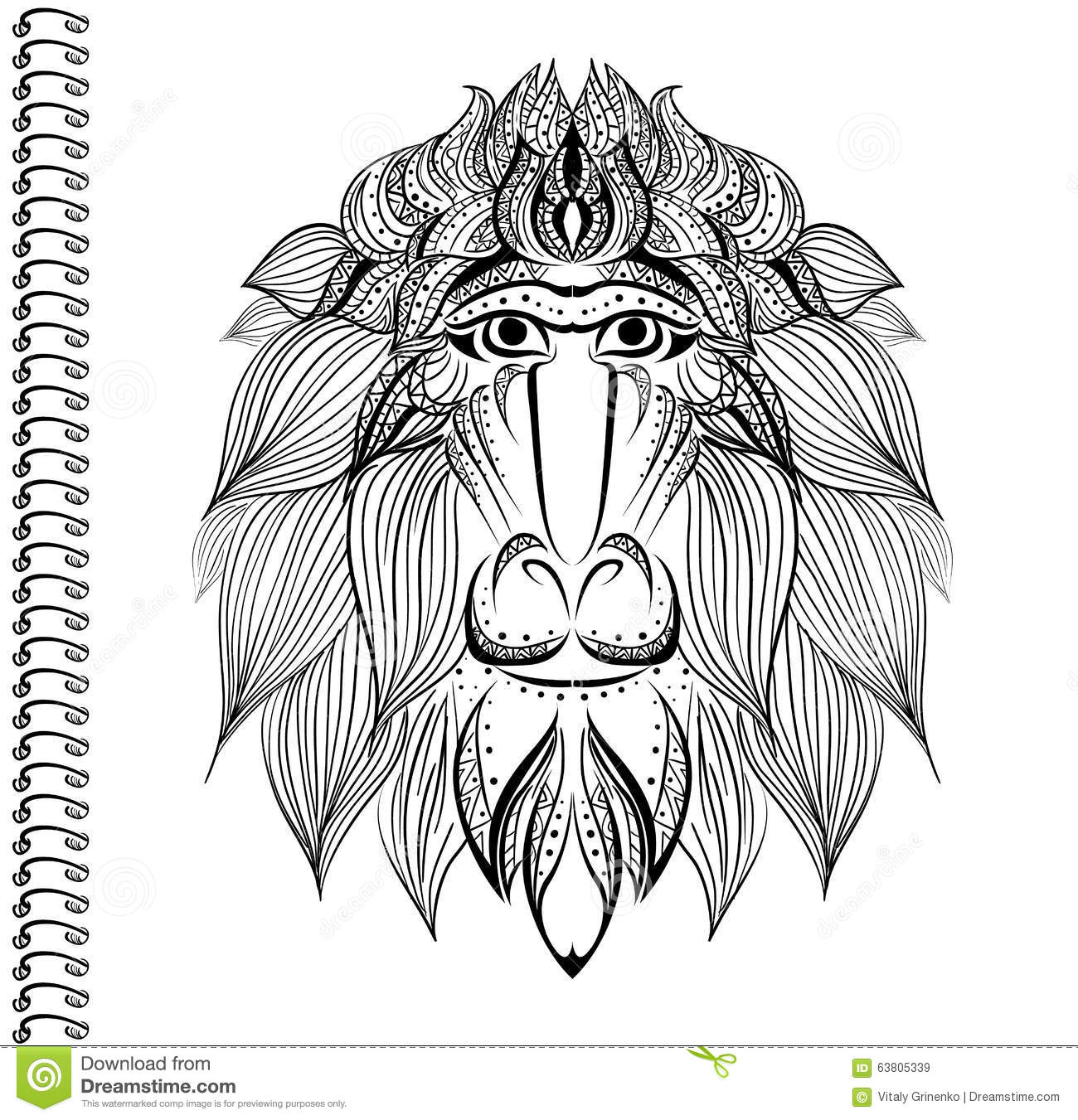 Baboon Monkey Vector Pattern Ethnic Pattern Cover Notebook