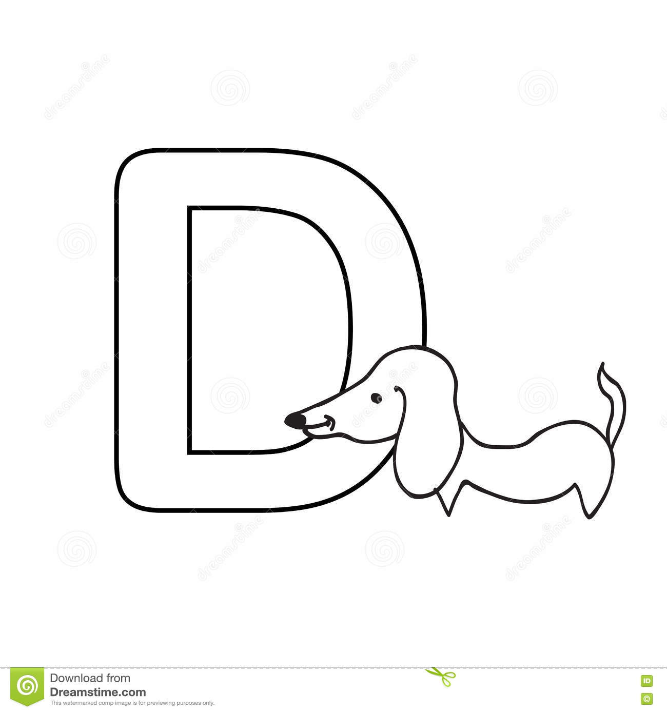Baby Animals Alphabet Kids Coloring Page Isolated Stock Illustration