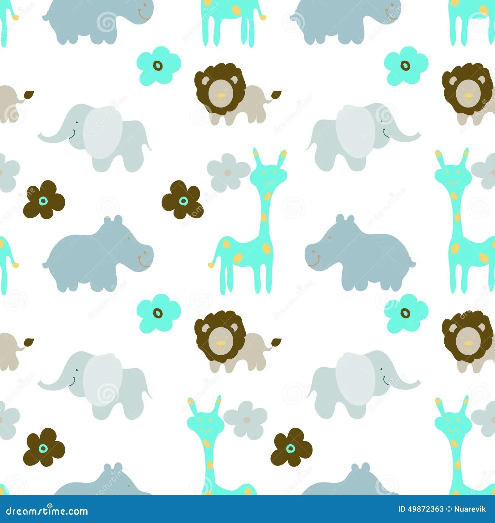 Baby Animals Seamless Pattern Royalty Free Stock Photo