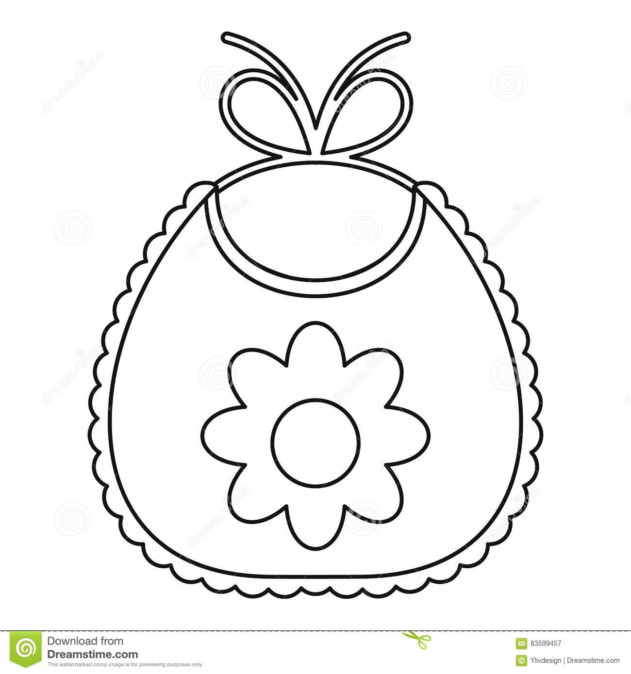 Baby Bib With Flower Icon Outline Style Stock Vector