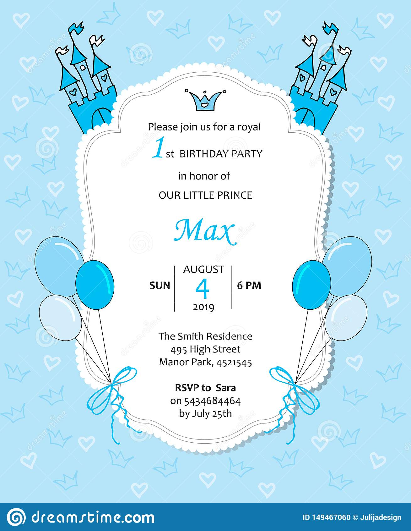https www dreamstime com baby boy royal bithday invitaion baloons castle hearts crowns little prince template card lace frame blue image149467060