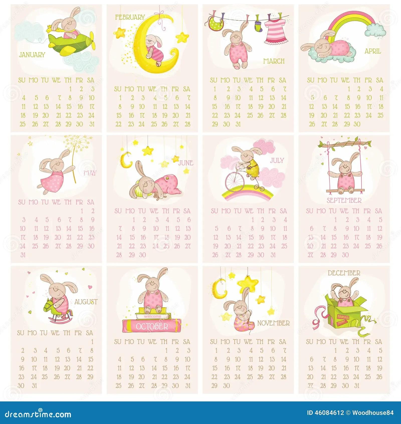 Baby Bunny Calendar 2015 Stock Vector Image Of