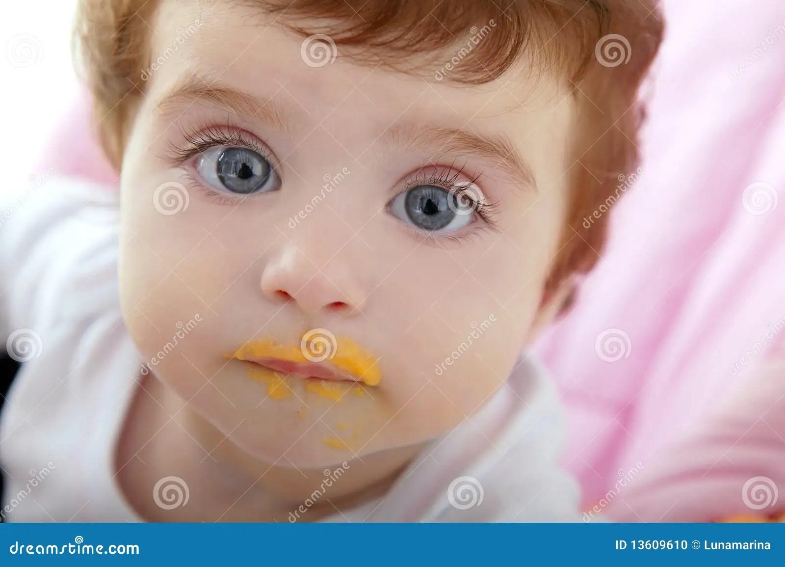 Baby Deity Mouth Of Eating Porridge Stock Photo Image