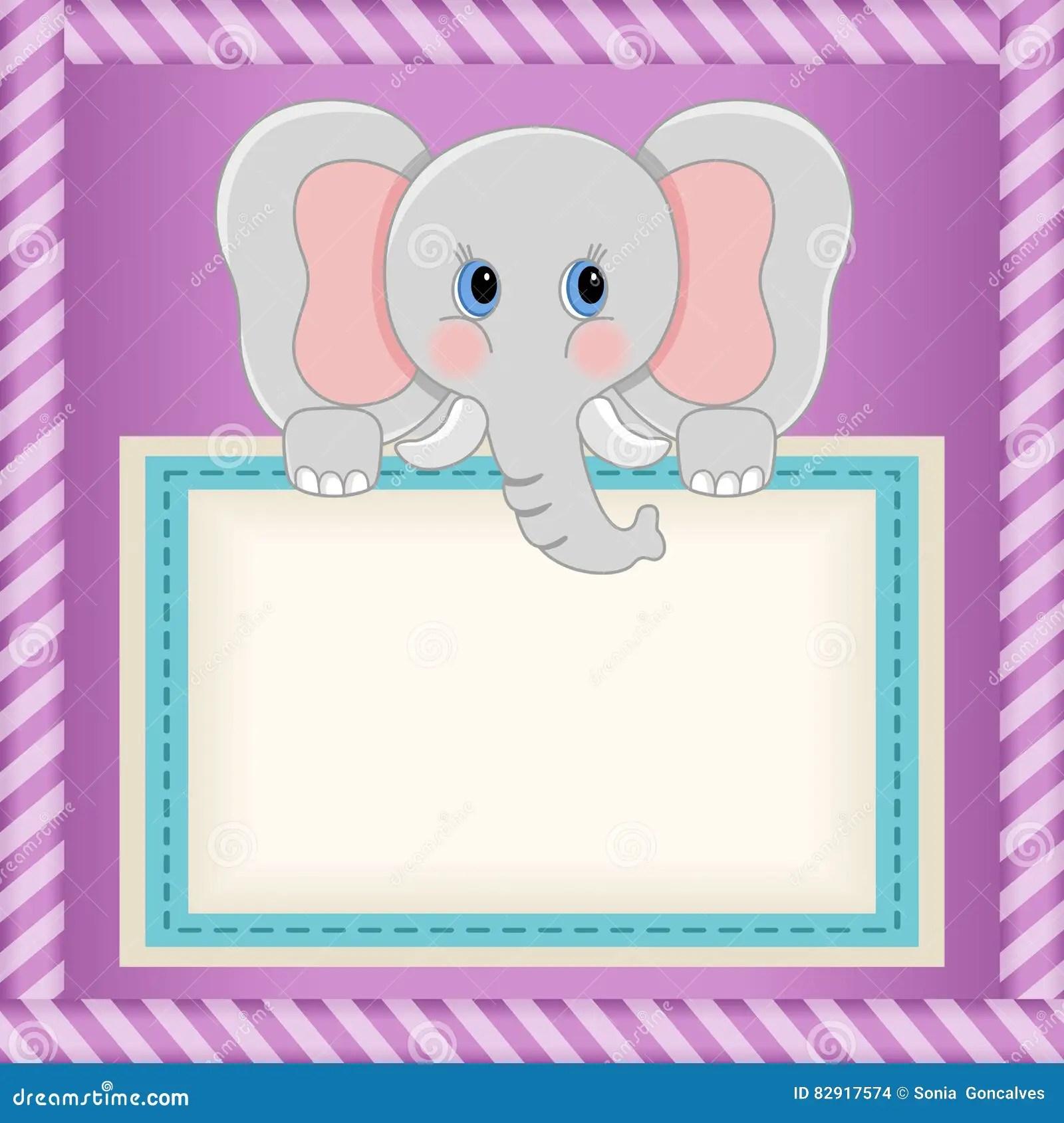 Baby Elephant Holding Blank Label Stock Vector