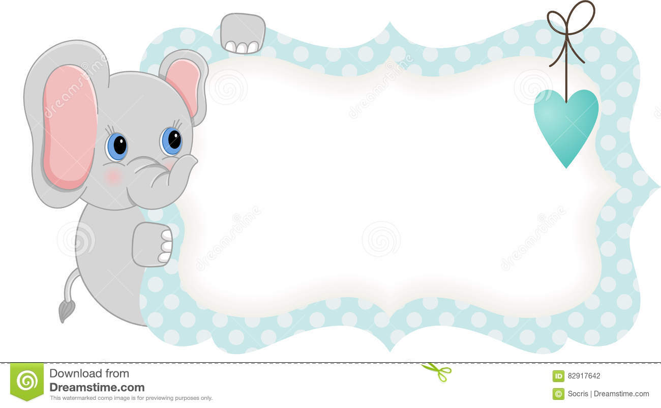 Baby Elephant Holding Blue Blank Label Stock Vector