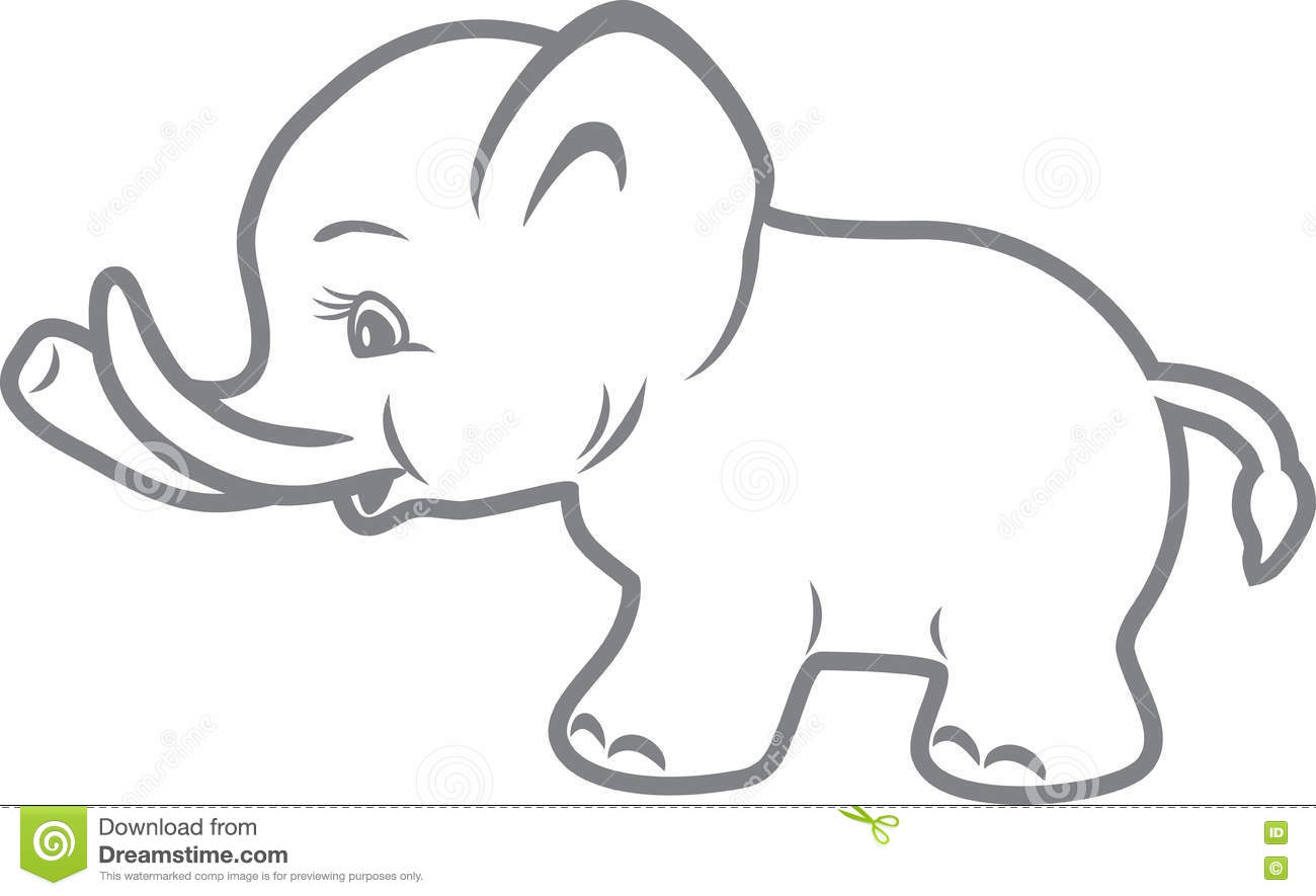 Baby Elephant Outline Drawing Stock Vector