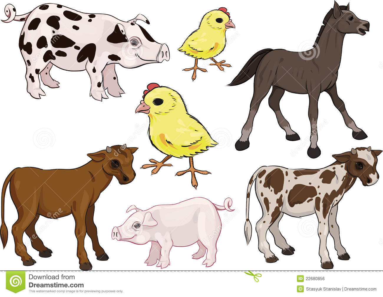 Baby Farm Animals Set Stock Vector Illustration Of Cute