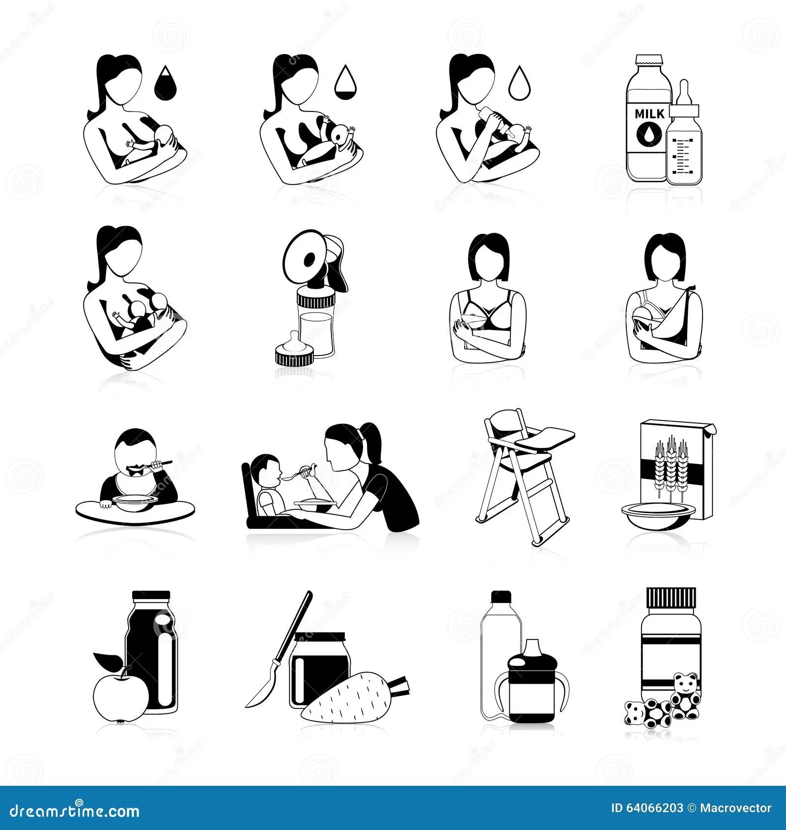 Baby Feeding Black Icons Set Stock Vector
