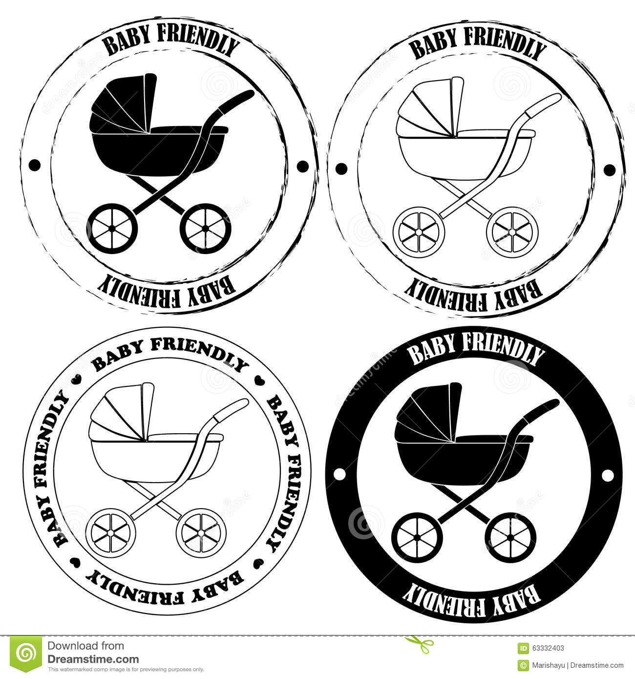 Baby Friendly Stamps Black And White Stock Vector