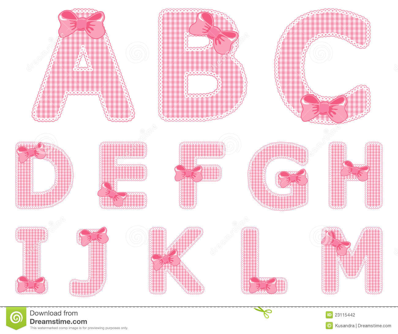 Baby Girl Alphabet Set From A To M Stock Vector