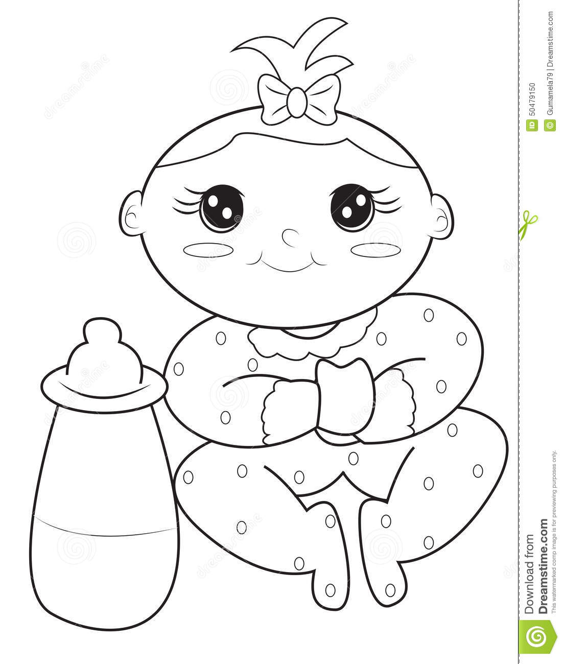 Baby Girl Coloring Page Stock Illustration Illustration Of Coloring
