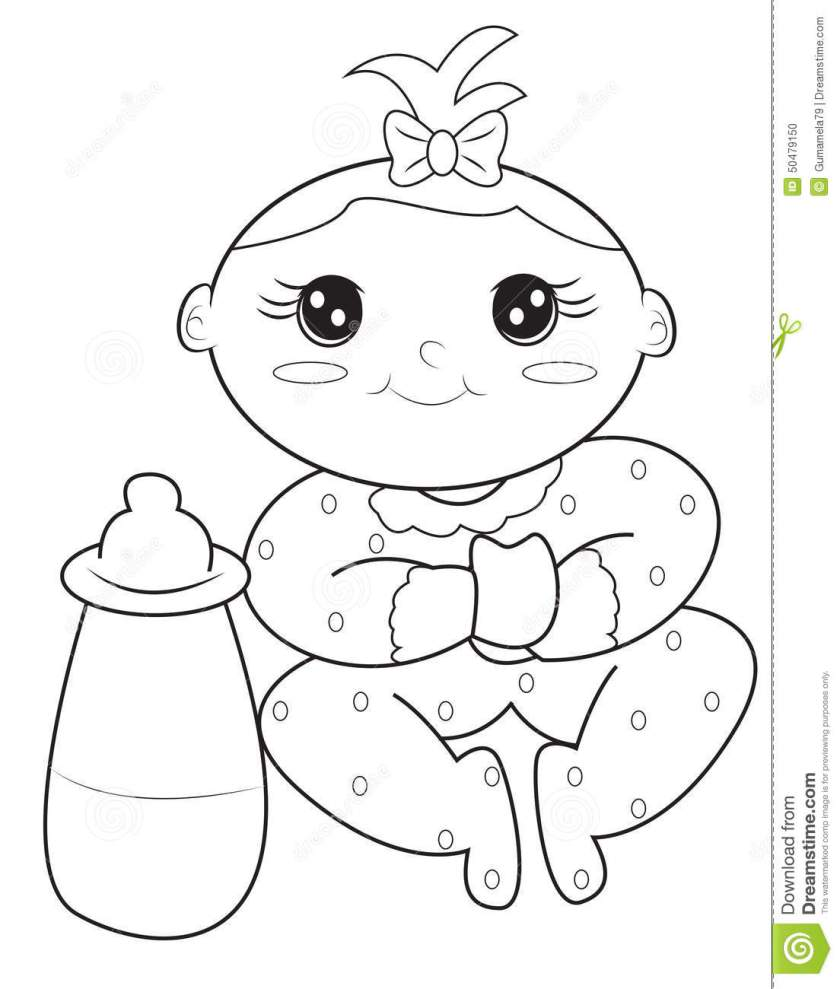 baby girl coloring page stock illustration. illustration