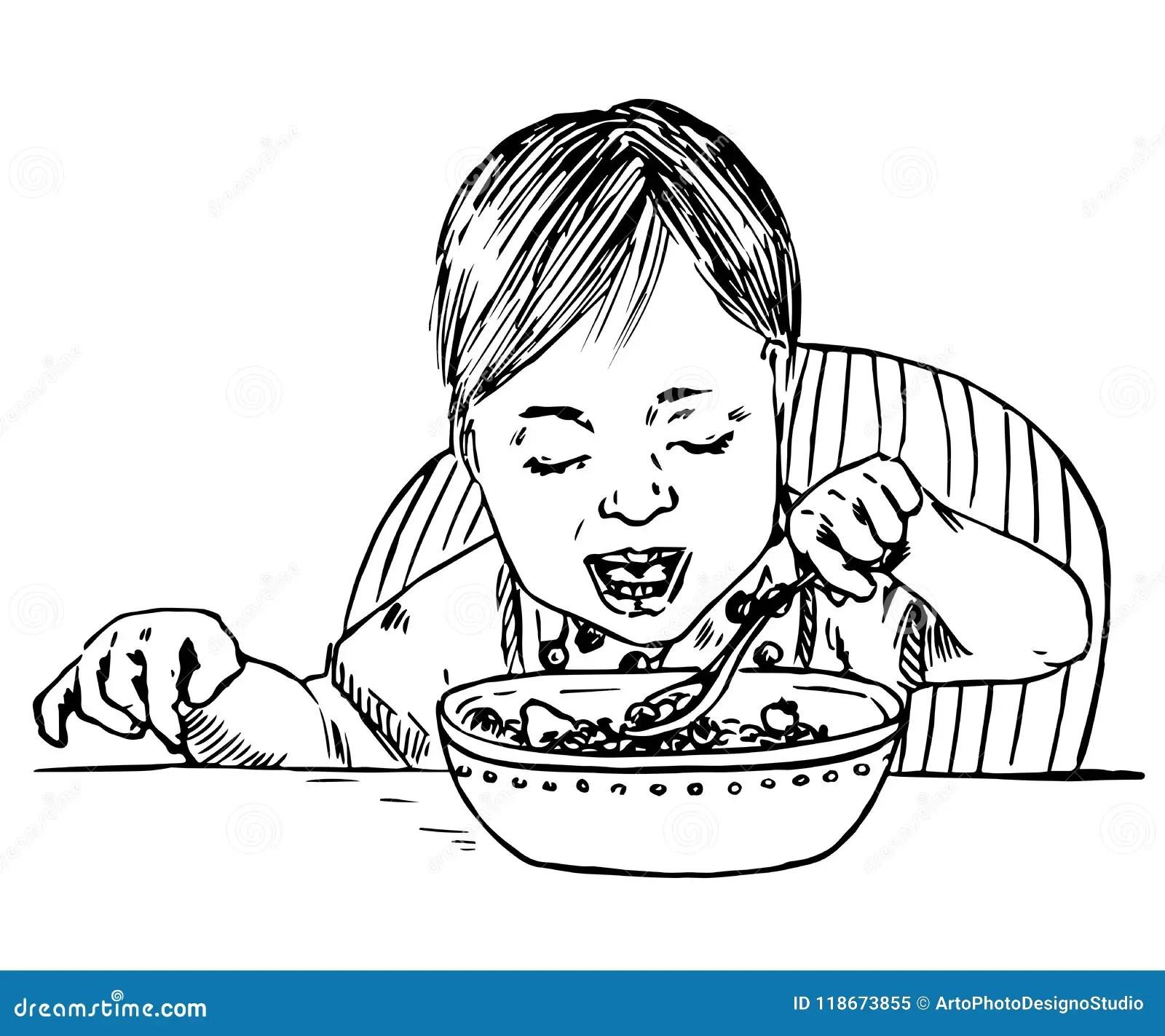 Baby Girl Sitting And Eating Porridge Spoon In Hand Stock