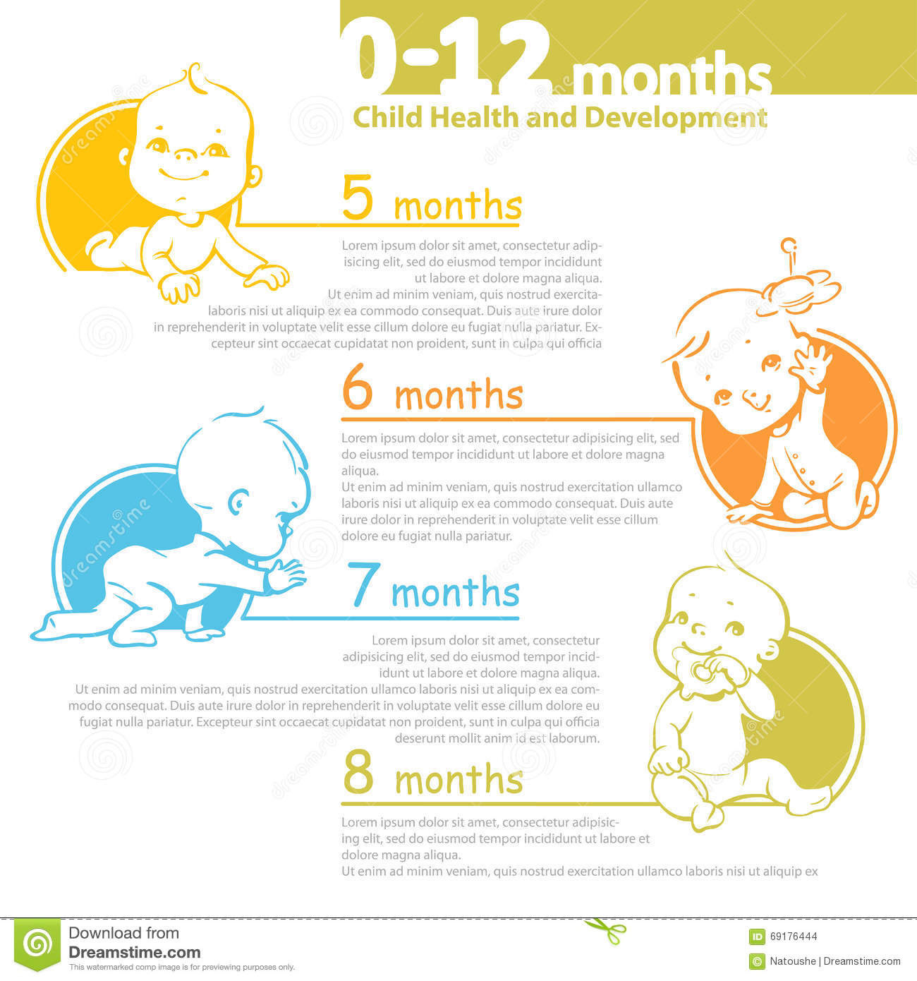 Baby Growing Up Infographic Stock Vector