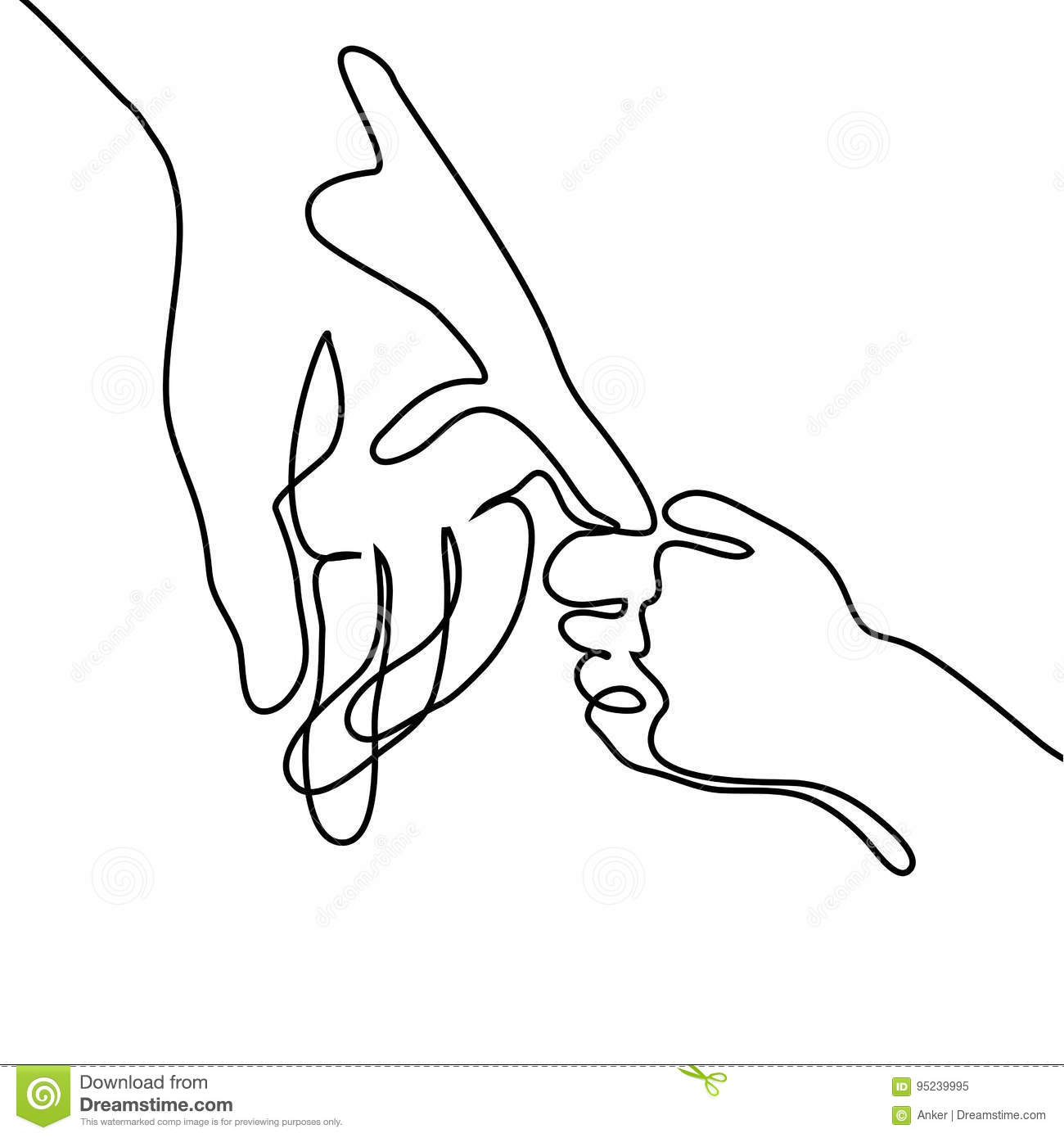 Baby Holding Little Finger Of Adult Hands Together Stock
