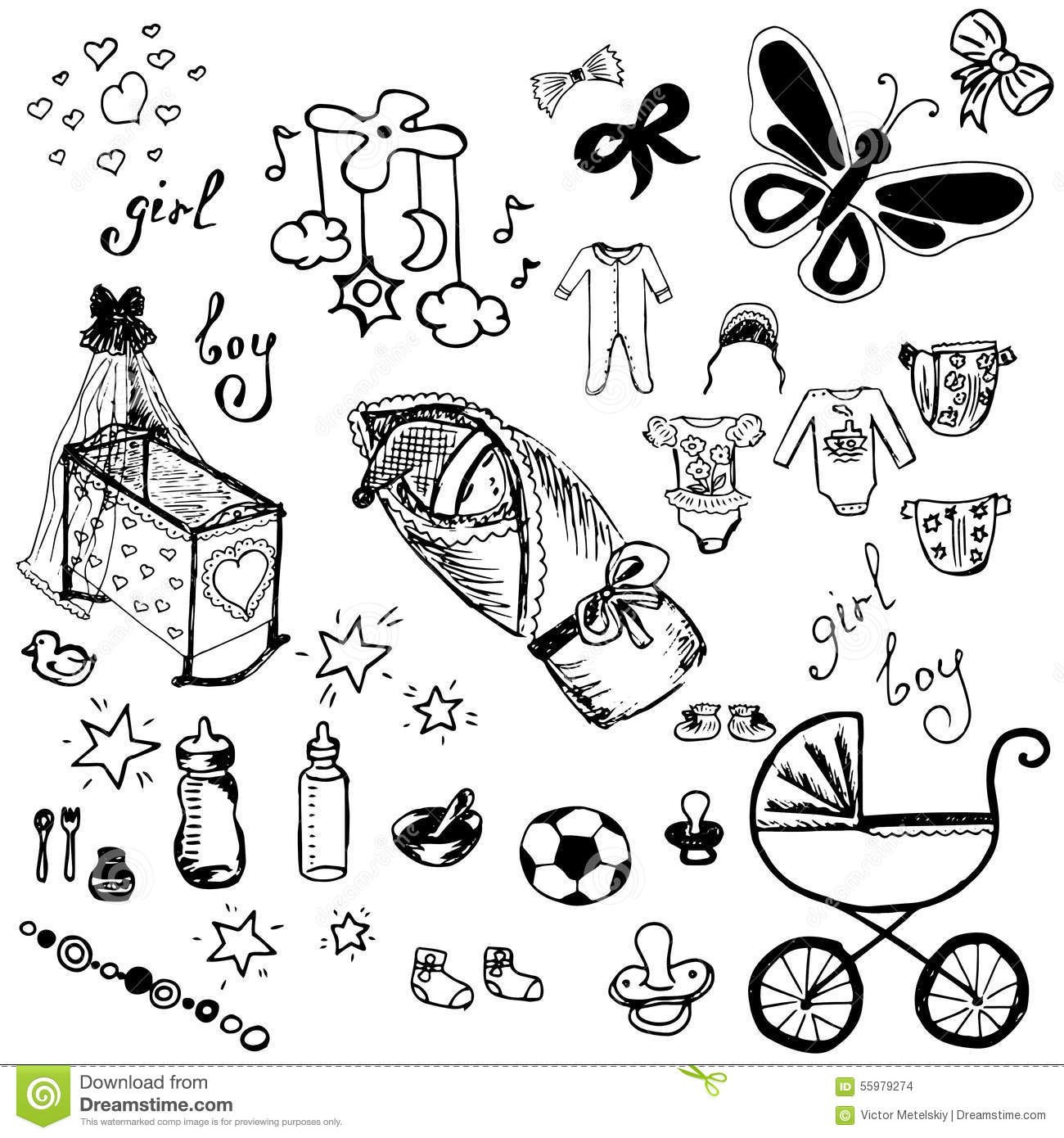 Baby Icons Set Hand Drawn Vector Illustration Stock Vector