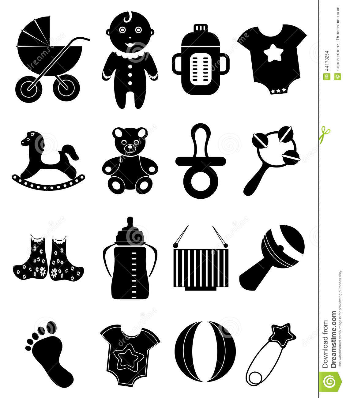 Baby Icons Set Isolated On White Background Royalty Free Cartoon