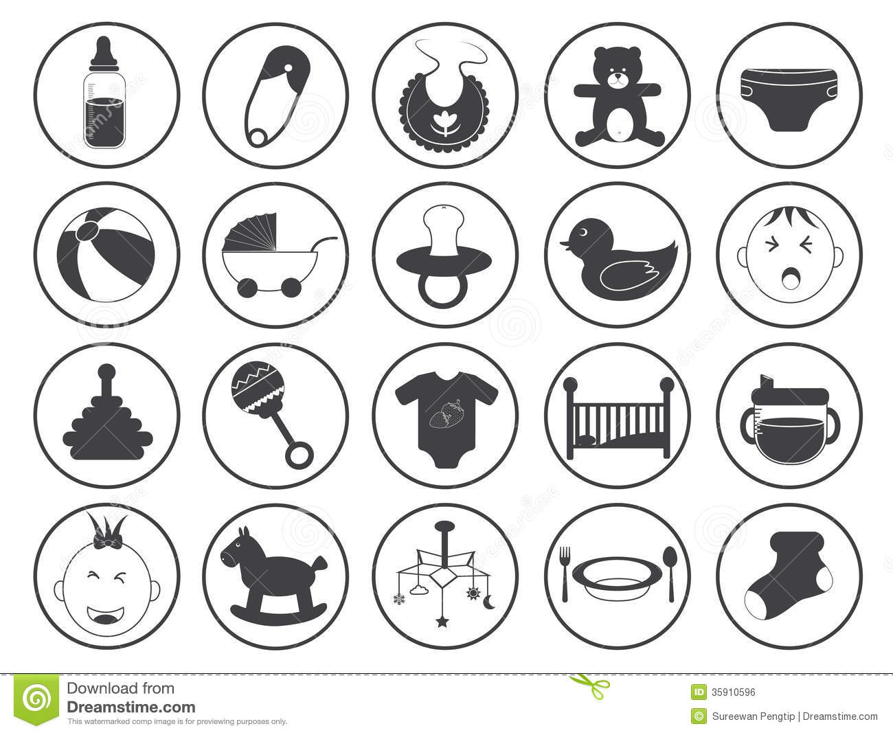 Baby Icons Vector Collection Stock Vector