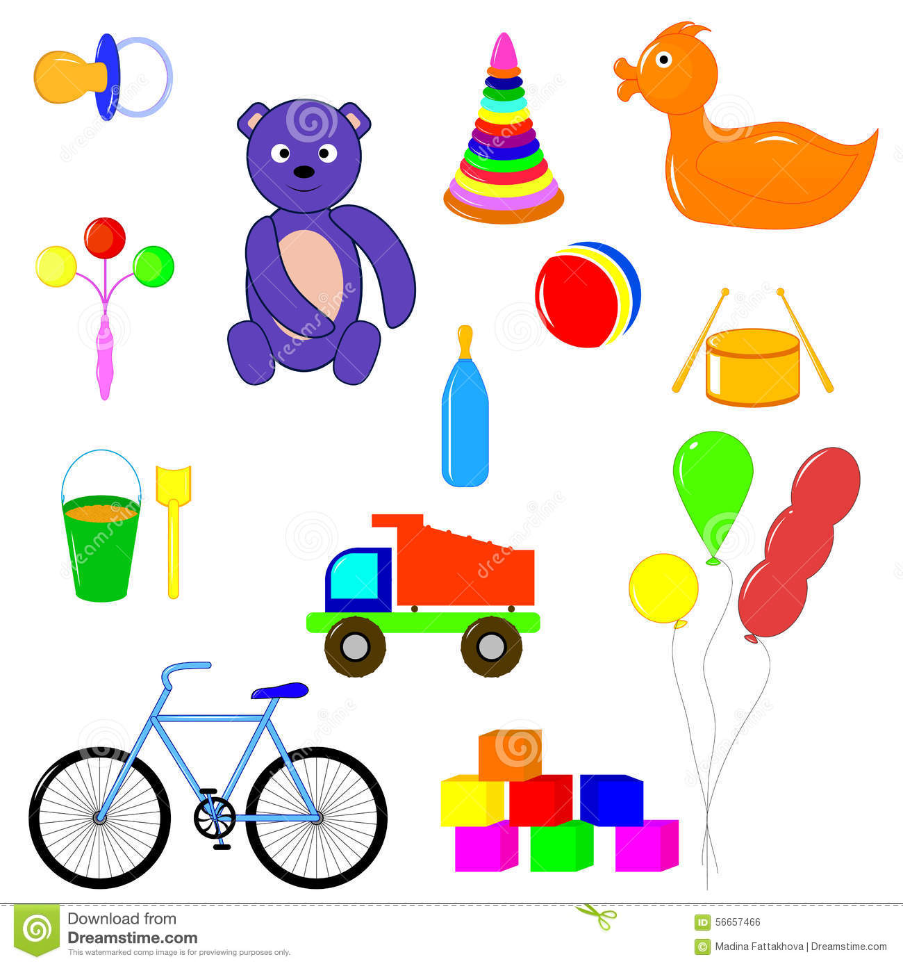 Baby Items And Toys For Children Of Different Ages Stock
