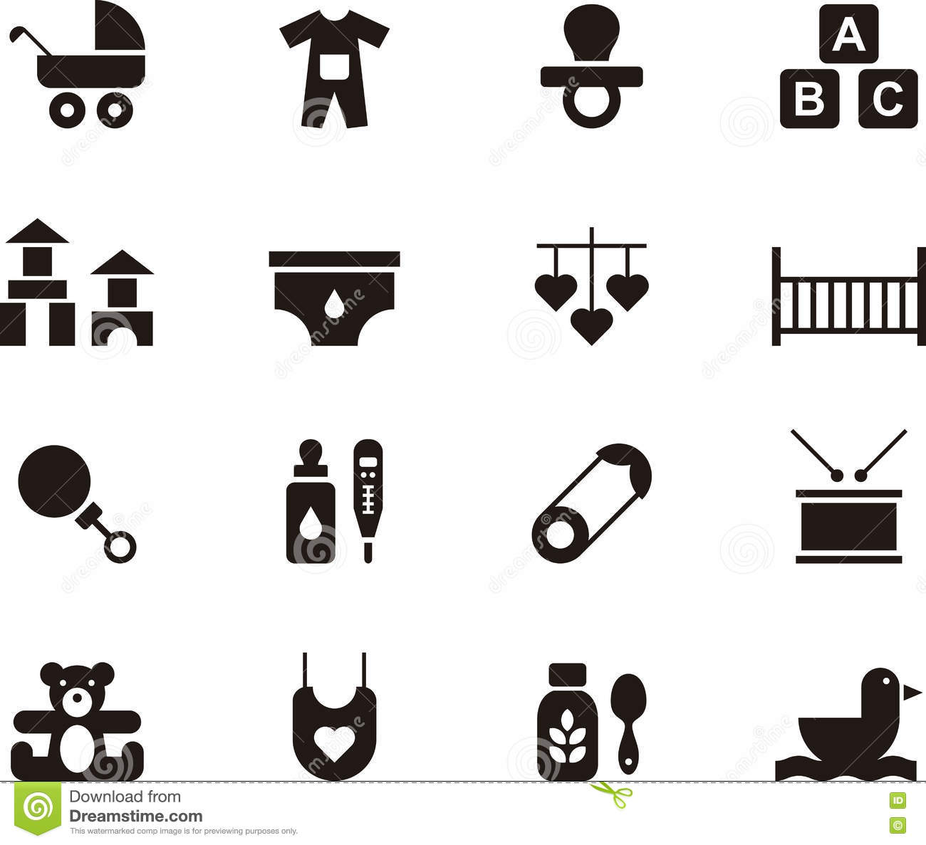 Baby And Kids Icon Set Stock Vector Illustration Of Crib