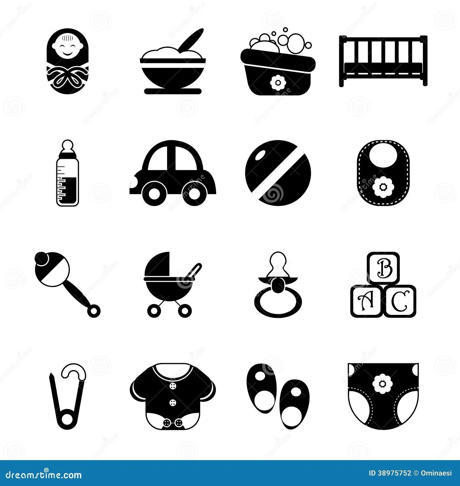 Baby Kindheit Lokalisierte Schattenbild Ikonen Symbol Satz