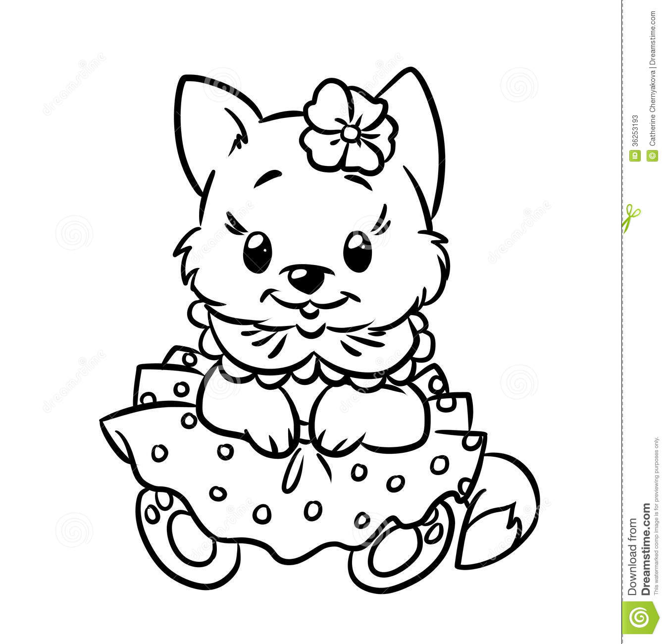 Baby Kitten Coloring Pages Stock Illustration