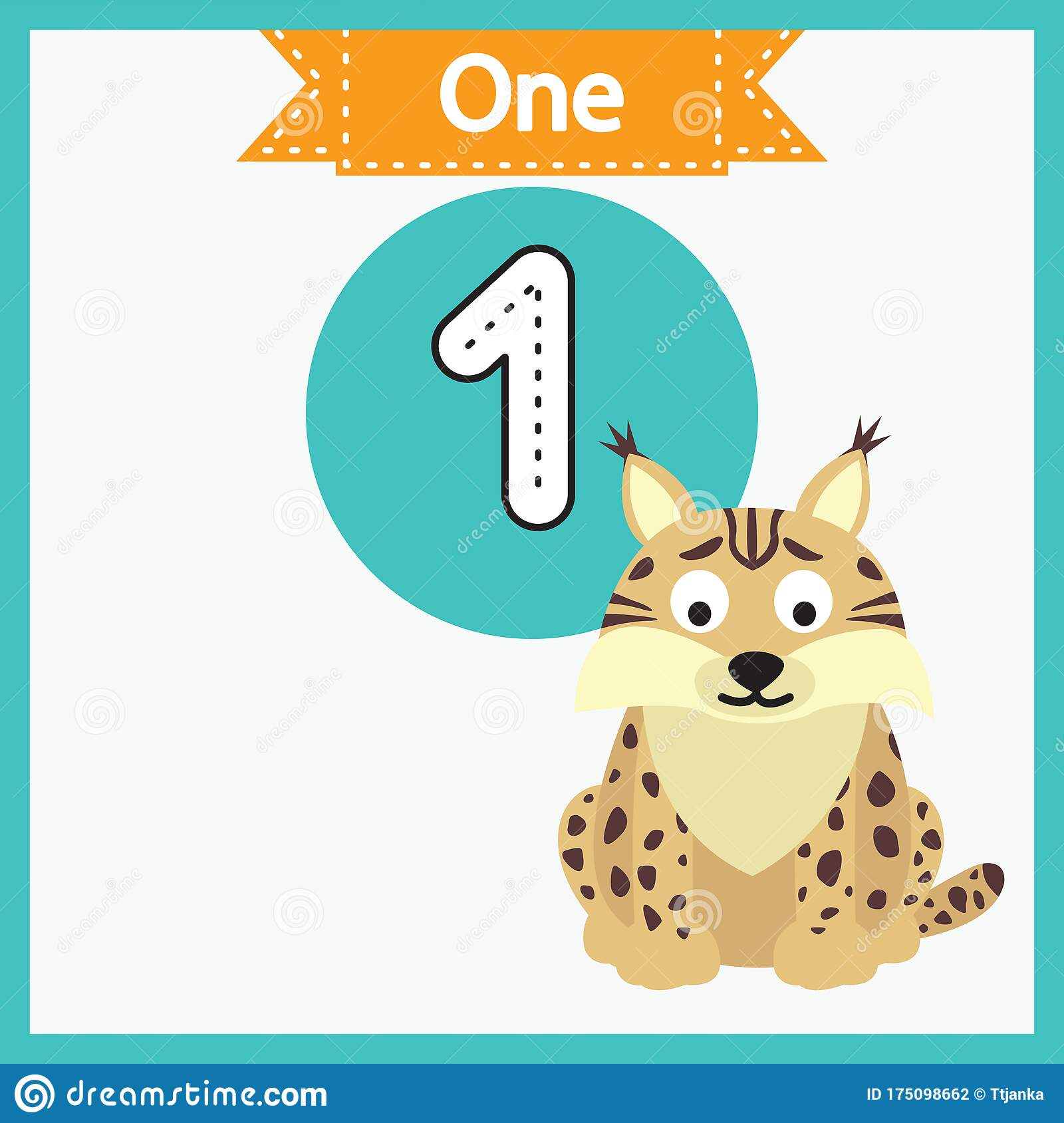 Baby Learning Cards With Animals Learning To Count And To