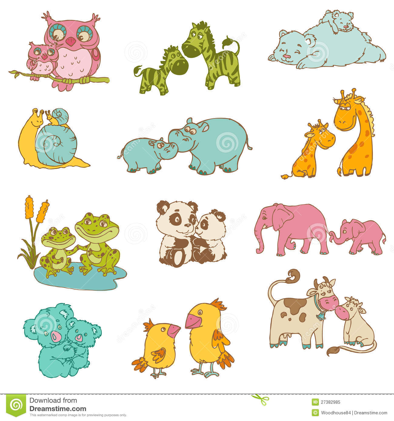 Baby And Mommy Animals Royalty Free Stock Photo