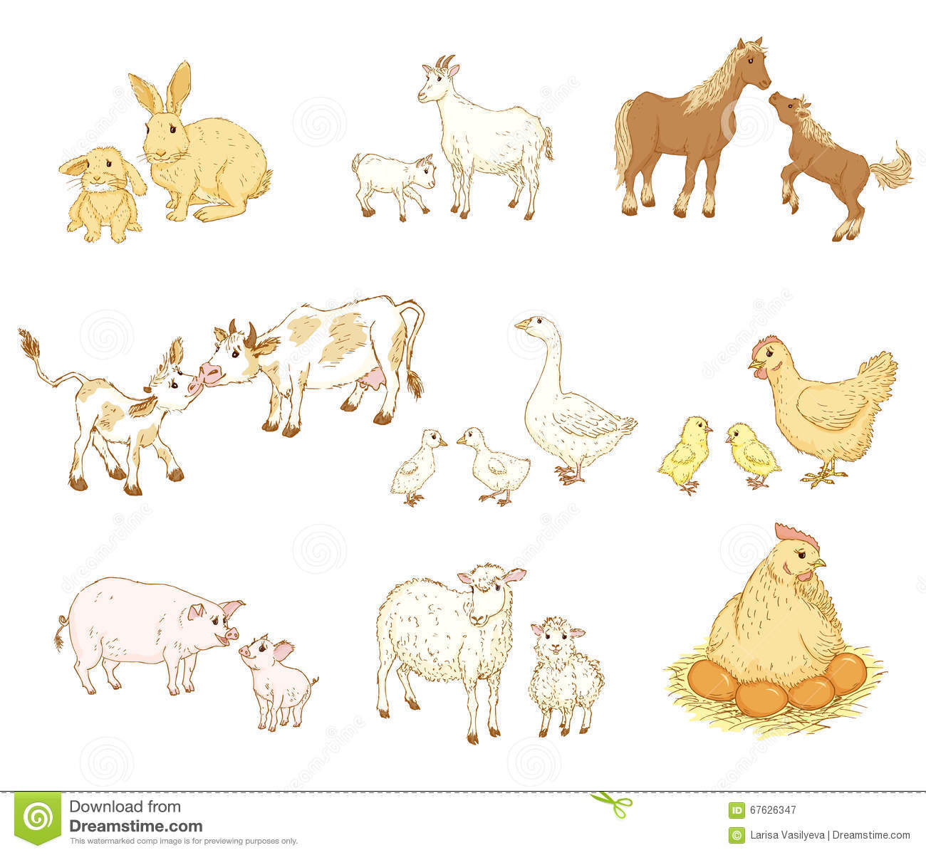 Baby And Mother Animals Stock Vector Illustration Of Goat