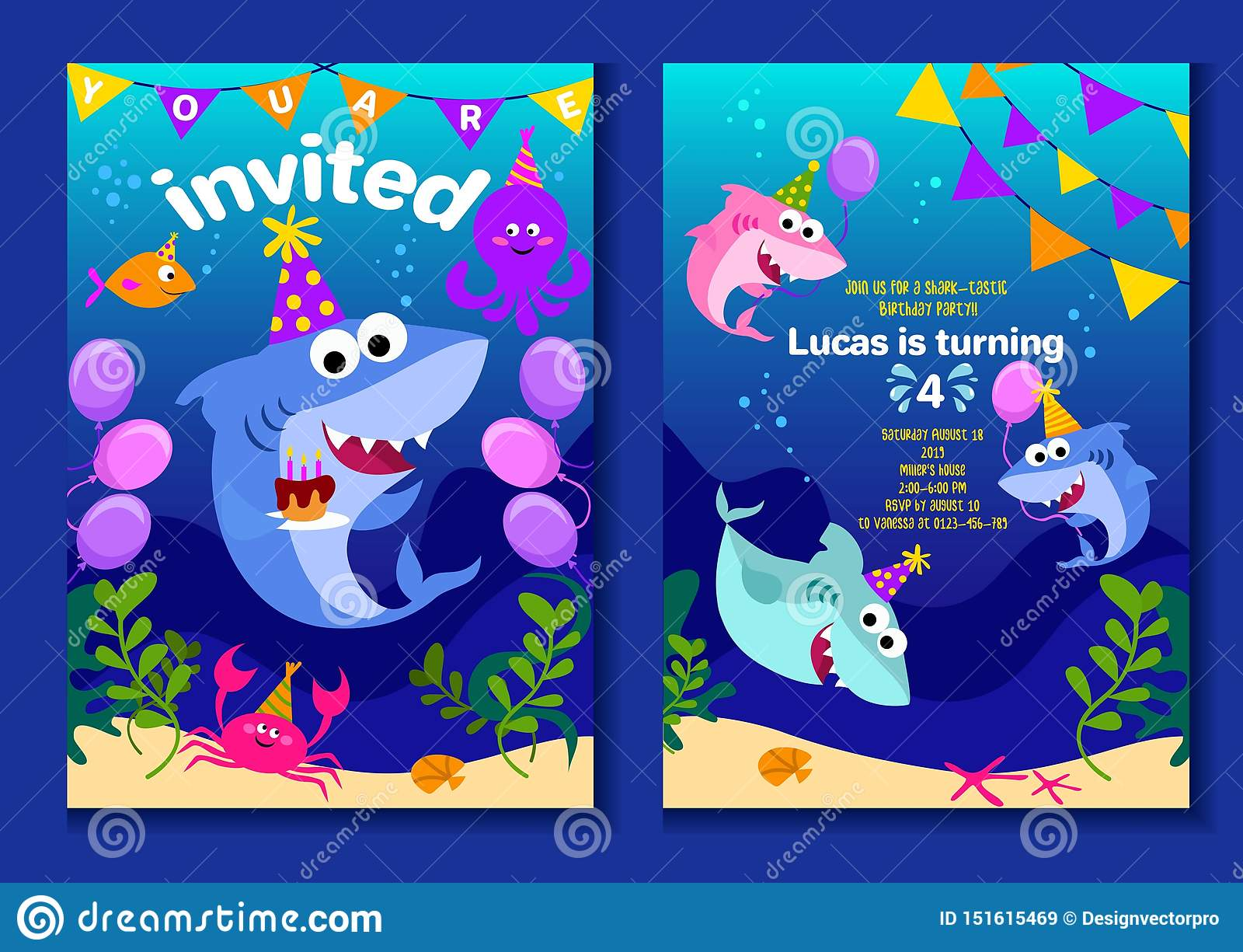 https www dreamstime com baby shark party invitation cards happy birthday greeting card cartoon style under sea world animals shark octopus image151615469