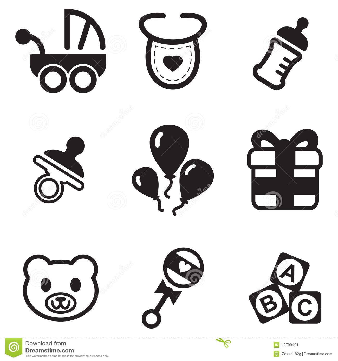 Baby Shower Icons Stock Vector Image Of Newborn Creative