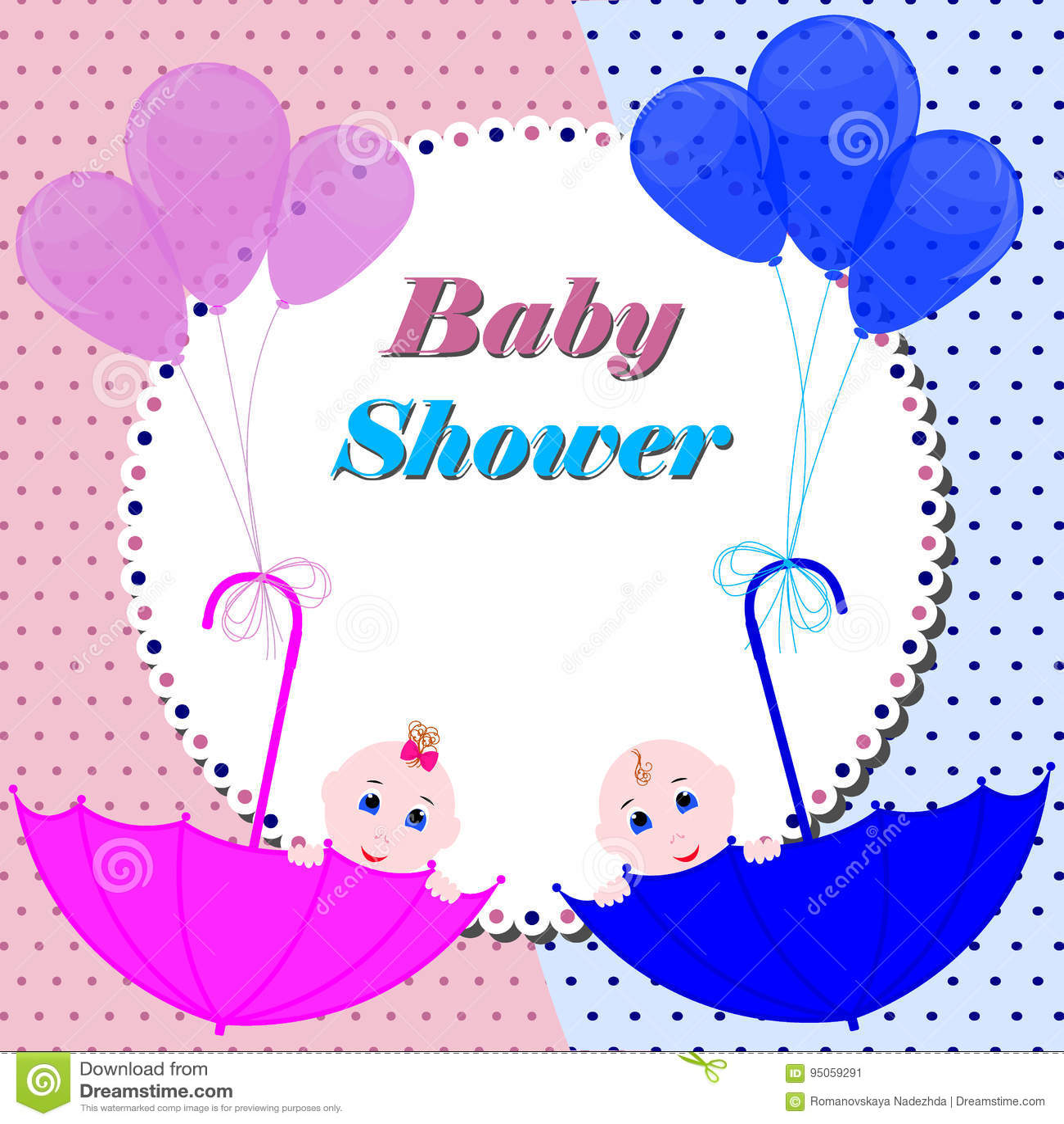 baby shower invitation card cute boy and girl stock illustration illustration of celebration greeting 95059291
