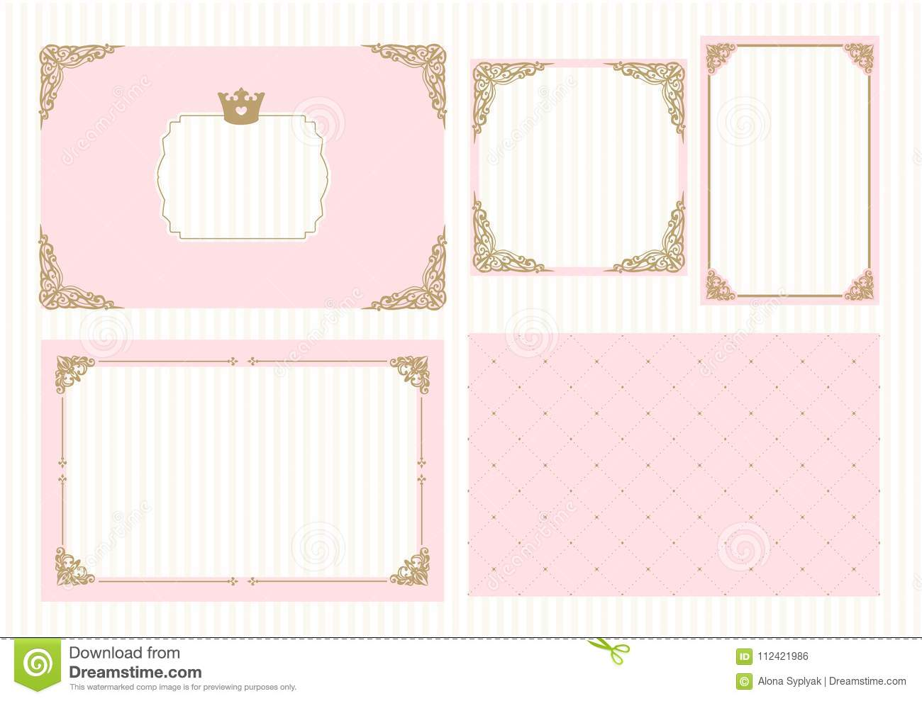 https www dreamstime com baby shower wedding girl birthday invite card cute picture border decorative golden corner set cute pink templates image112421986