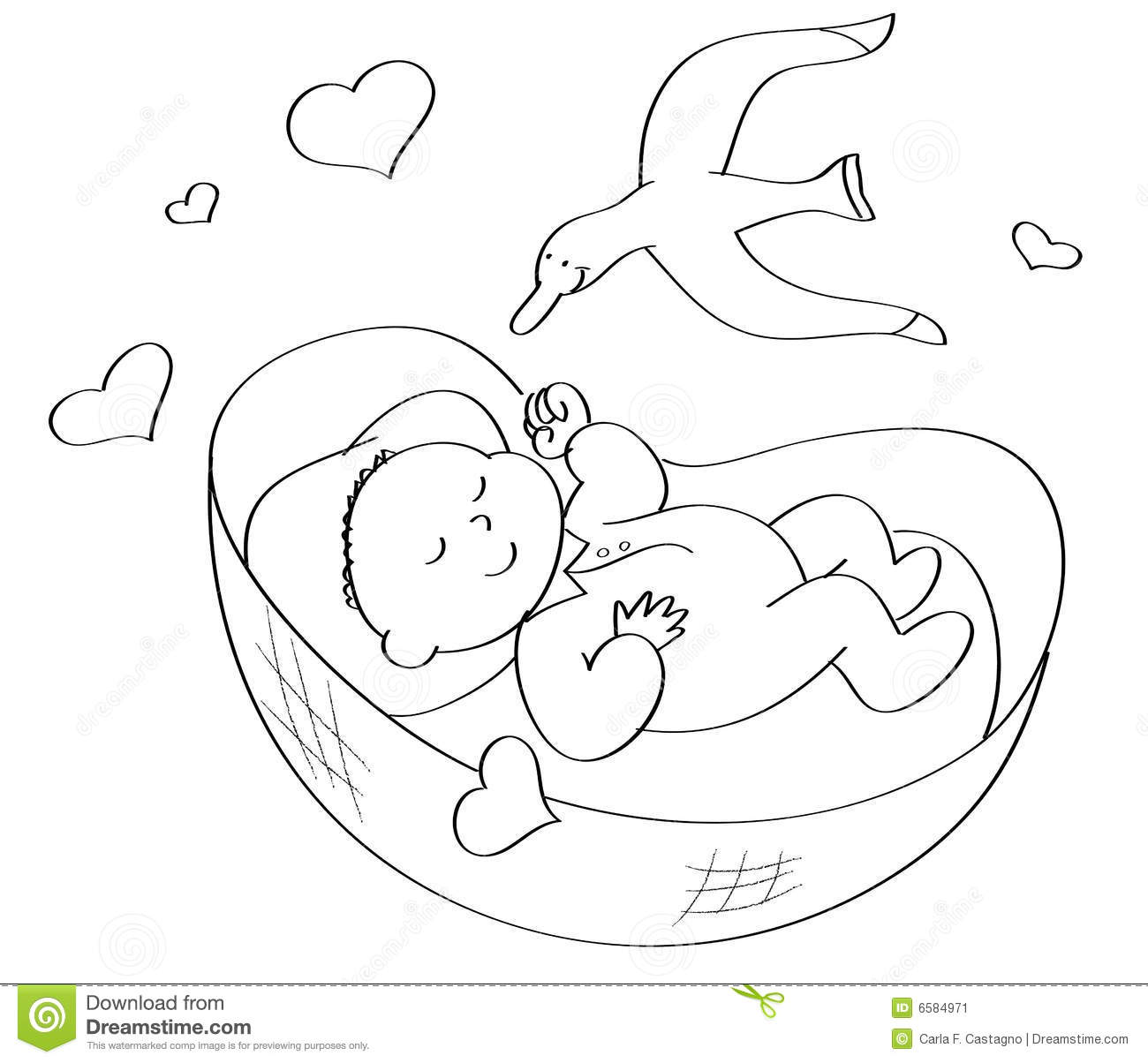 Coloring Baby Sleeping Stock Vector Illustration Of Love