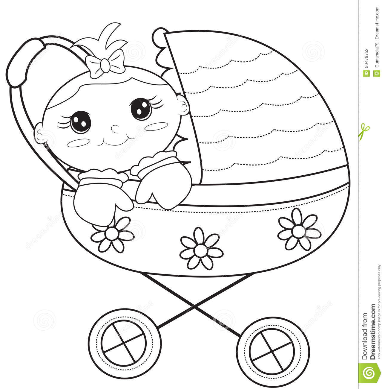 Baby Stroller Coloring Page Stock Illustration