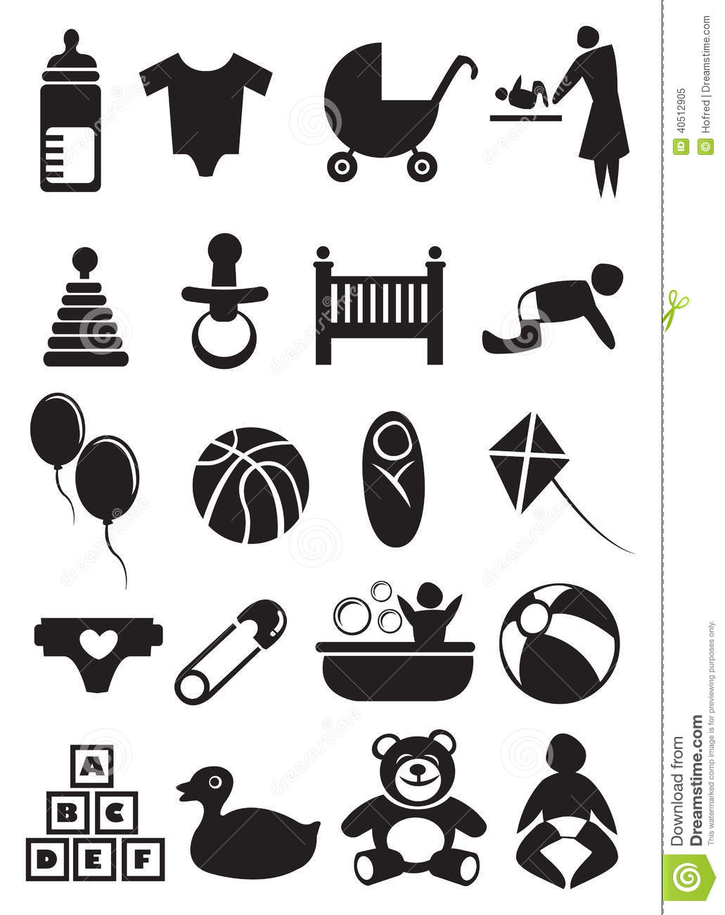 Baby Stuff Icon Set Stock Vector