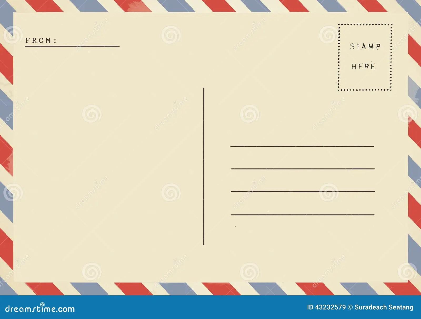 Back Of Airmail Blank Postcard Stock Illustration