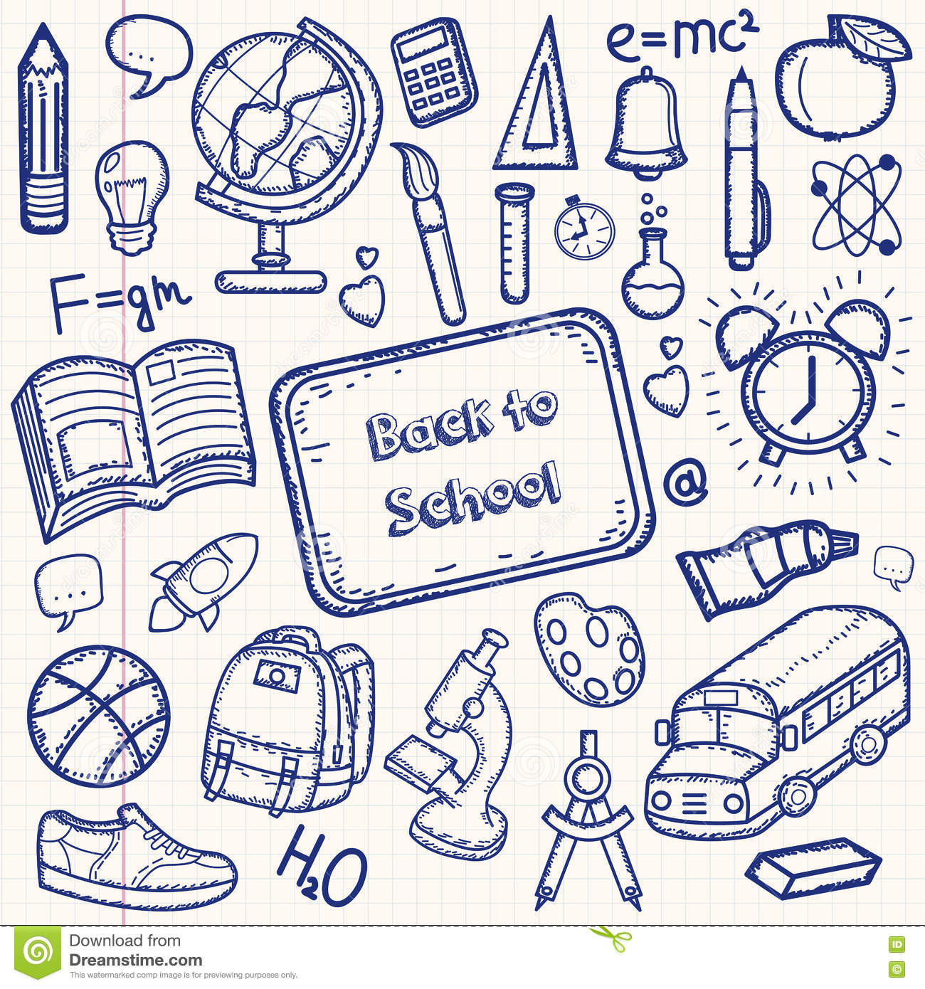 Back To School Doodle Set Hand Draw School Items On A